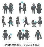 women and men family figures... | Shutterstock .eps vector #196115561