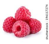 raspberries isolated on white... | Shutterstock . vector #196117274