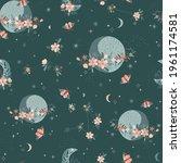 magic bloomy planet vector...   Shutterstock .eps vector #1961174581