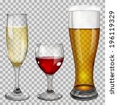 three transparent glass goblets ...   Shutterstock .eps vector #196119329