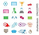 soccer icons color set.... | Shutterstock .eps vector #196122995