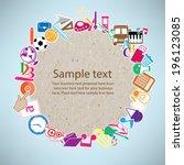 back to school on paper... | Shutterstock .eps vector #196123085