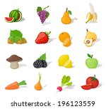 aiwa,apple,background,banana,blackberry,carrot,cartoon,children,collection,design,food,fresh,fruit,fun,funny