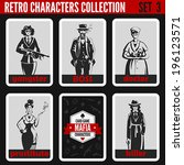 Retro vintage people collection. Mafia noir style. Gangsters, Boss, Doctor, Prostitute, Killer.  Professions silhouettes.