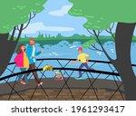 cheerful people walking bridge...   Shutterstock .eps vector #1961293417