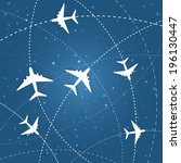 airplane routes on night sky.... | Shutterstock .eps vector #196130447