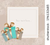 greeting card on a floral... | Shutterstock .eps vector #196132685