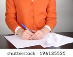 woman writer for work flow... | Shutterstock . vector #196135535
