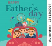 happy father  son  daughter...   Shutterstock .eps vector #1961360014