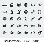 car parts large icons set | Shutterstock .eps vector #196137884
