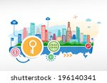 key symbo and cityscape... | Shutterstock .eps vector #196140341