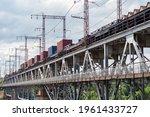 Long Railway Train On The Iron...