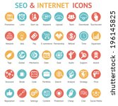 Large set of 40 different SEO and internet icons on colurufl round web buttons each labeled as to its meaning with text below  vector illustration