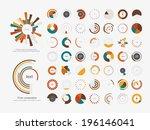 set of info graphic pie charts | Shutterstock .eps vector #196146041