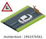 isometric deer crosses the road ... | Shutterstock .eps vector #1961476561