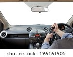hands on the steering wheel... | Shutterstock . vector #196161905