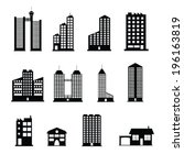 buildings icons set | Shutterstock .eps vector #196163819