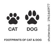 silhouette of cat and dog paw...   Shutterstock .eps vector #1961660977