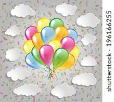 multicolored balloons with... | Shutterstock . vector #196166255