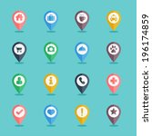 map pin icon set flat design... | Shutterstock .eps vector #196174859