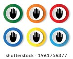 human hand palm icon set  flat... | Shutterstock .eps vector #1961756377