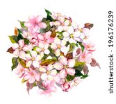 floral circle with pink flowers ... | Shutterstock . vector #196176239