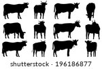 set vector silhouettes of... | Shutterstock .eps vector #196186877