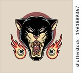 panther tattoo illustration... | Shutterstock .eps vector #1961889367
