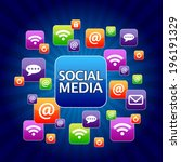 colorful social media icon... | Shutterstock . vector #196191329