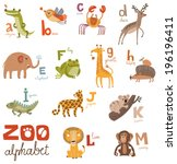zoo alphabet in vector part 1 | Shutterstock .eps vector #196196411