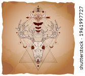Deer skull, moth and geometric symbol on vintage paper background with torn edges. Abstract mystic sign. Image in sepia and red  color.