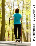 nordic walking. woman hiking in ... | Shutterstock . vector #196200485