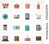flat icons vector collection with colors of supermarket services, Shopping online Icons set.  - stock vector