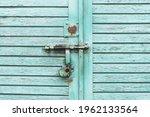 Blue Paint Wooden Garage Door....