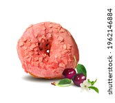 fairy donut with cherry glaze.... | Shutterstock .eps vector #1962146884