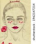 Hand Drawing Girl Portrait ...