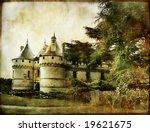 Chaumont castle - vintage picture in watercolor style - stock photo