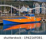 Small photo of Whitehaven, UK - Apr 14 2021: Developed by Coastal Charters, the proof of concept demonstration vessel Tenacity, part of the design and build of a rapid crew transfer vessel for the offshore industry.
