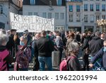 Small photo of Besancon, France. April 23 2021 Demonstration for the repeal of the unemployment insurance reform, against layoffs and job cuts, against precariousness, for the health system.