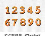 numbers set in illustration  ... | Shutterstock .eps vector #196223129