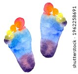 Baby Foot Print Rainbow Colored ...