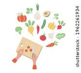 woman hands cut cherry tomatoes ... | Shutterstock .eps vector #1962261934