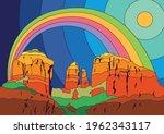 american desert psychedelic... | Shutterstock .eps vector #1962343117