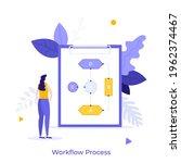 woman looking at flow diagram... | Shutterstock .eps vector #1962374467