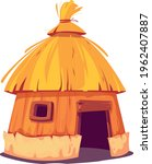 bungalow with thatched roof fun.... | Shutterstock .eps vector #1962407887