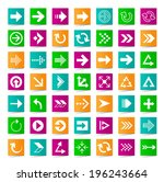 set of 45 arrow icons on square ...