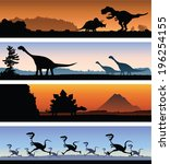 A set of four banners showing a variety of dinosaur scenes. - stock vector