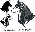 Husky dog design  - animal head side view illustration in color and monochrome plus silhouette - stock vector