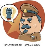 a cartoon dictator talks tough... | Shutterstock .eps vector #196261307