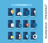 flat icons for server computing.... | Shutterstock .eps vector #196265627